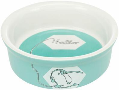 Ciotola in ceramica con disegno coniglio - Azzurra - 240 ml.  ø 11 cm