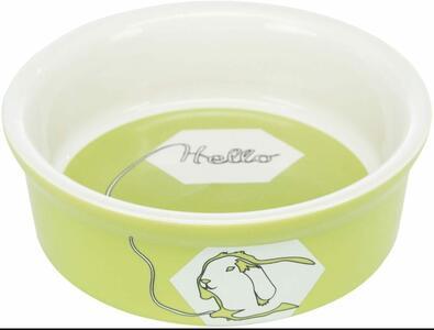 Ciotola in ceramica con disegno coniglio - Verde - 240 ml.  ø 11 cm