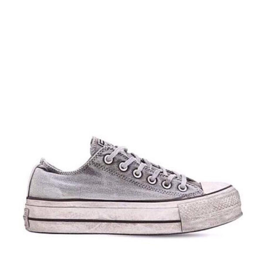 CONVERSE LIMITED AS OX PLATFORM CANVAS WHITE SMOKE IN 563112C