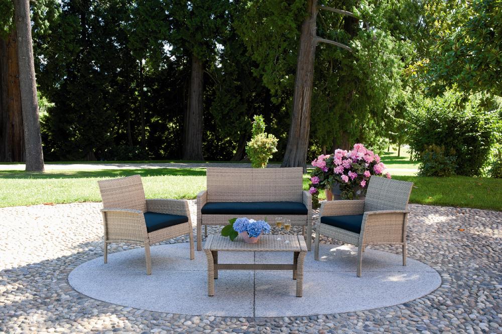 Salotto struttura in alluminio e intreccio in rattan for Divanetti giardino