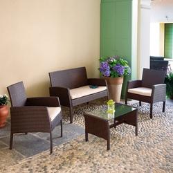 Set Salotto CESENA divano + 2 poltrone + tavolino + cuscino rattan sitetico caffè SET13