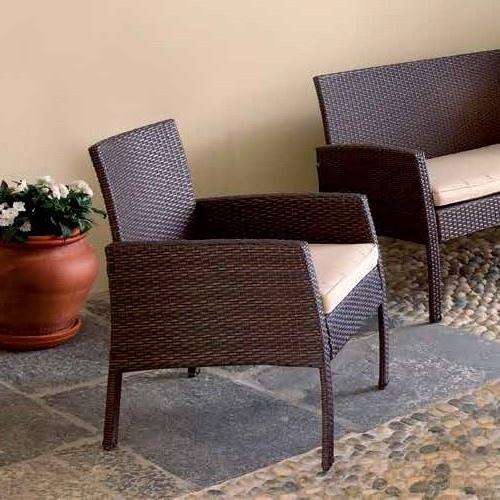 Set salotto cesena divano 2 poltrone tavolino cuscino rattan sitetico caff set13 - Set divano rattan ...