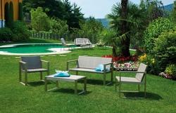 Set salotto da giardino MILAZZO divano + 2 poltrone cuscino + tavolino rattan sintetico avana SET03