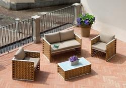 Set salotto BELLARIA divano + 2 poltrone + tavolino cuscini rattan sitetico paglia SET06