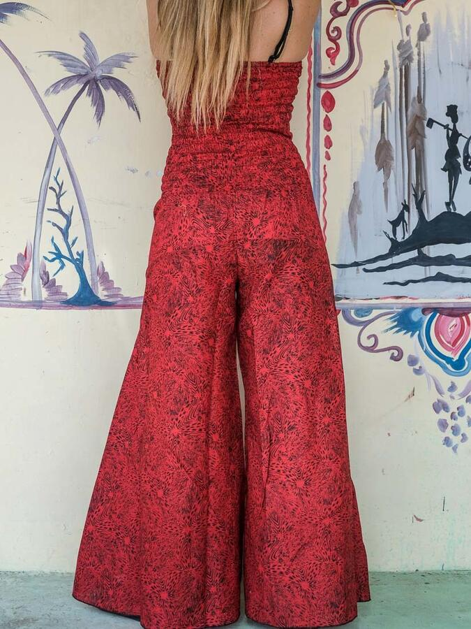 Vestito tuta donna lungo Sapna pantalone a zampa - rosso