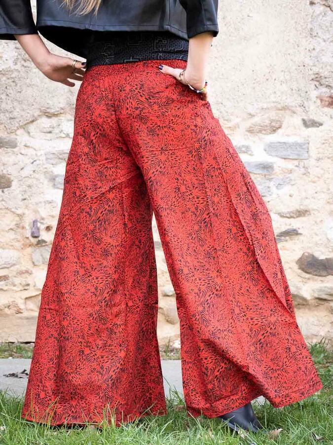 Pantalone donna lungo Ekta gamba larga - rosso