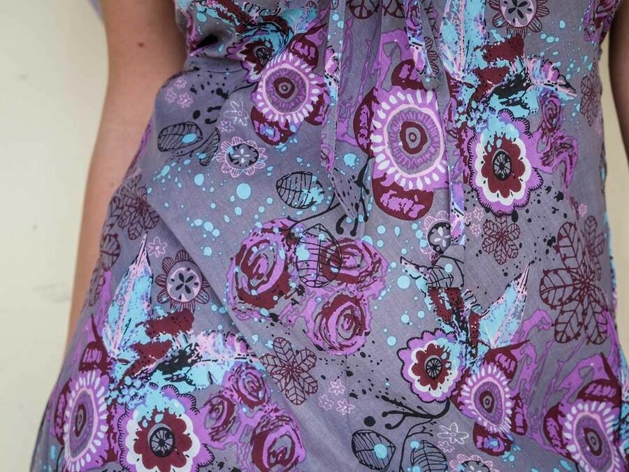 Vestito donna corto Medha allaccio al collo - fiorato lilla