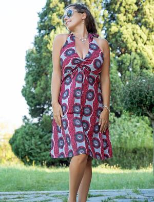 Vestito donna corto Medha allaccio al collo - conchiglie rosso