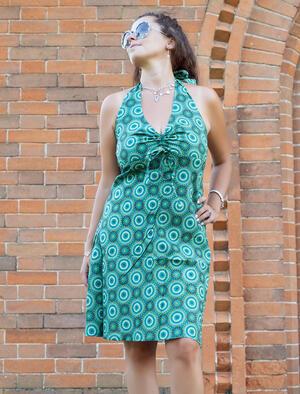Vestito donna corto Medha allaccio al collo - geometrico verde