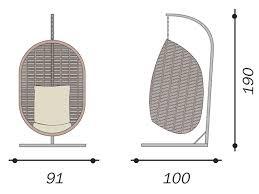 Dondolo Uovo poltrona sospesa dondolo cuscino tortora rattan sintetico avana CLW46
