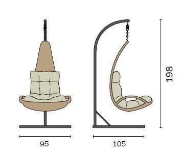 Poltrona sospesa dondolo sdraio cuscino tortora rattan sintetico avana CLW44