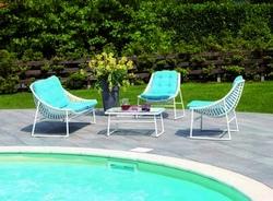 Set Salotto Riva divano + 2 poltrone + tavolino cuscini rattan sitetico bianco SET50
