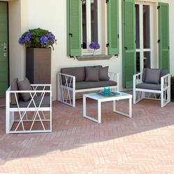 Set Salotto da giardino CHIOGGIA divano + 2 poltrone + tavolino vetro cuscini alluminio bianco CSA12