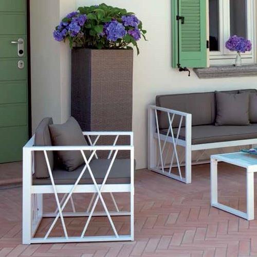 Set chioggia divano 2 poltrone tavolino vetro cuscini alluminio bianco csa12 - Poltrone da giardino amazon ...
