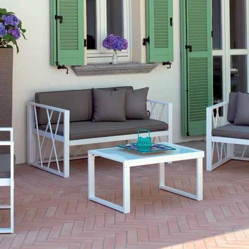 Salotto Da Giardino Bianco.Set Chioggia Divano 2 Poltrone Tavolino Vetro Cuscini Alluminio