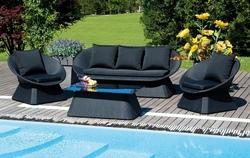 Set Salotto Giardino Chia divano + 2 poltrone + tavolino vetro cuscini textilene nero SET96