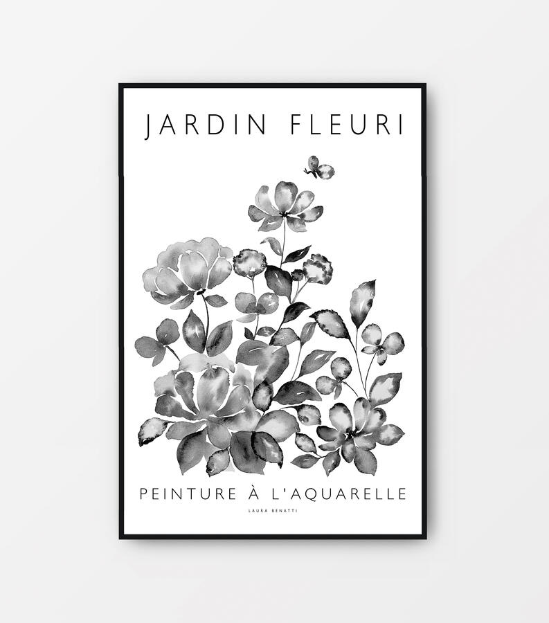 "Poster ""Jardin fleuri"" bianco e nero 40x60cm"