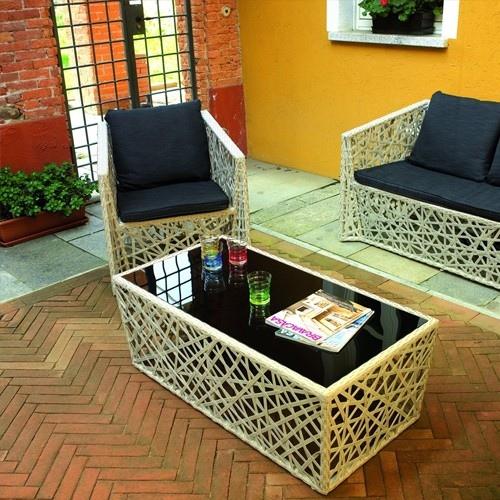 Set salotto giardino antalya divano 2 poltrone tavolino vetro cuscini rattan tortora set79 - Set divano rattan ...