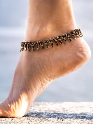 Cavigliera ottone Gipsy ciondoli a petali