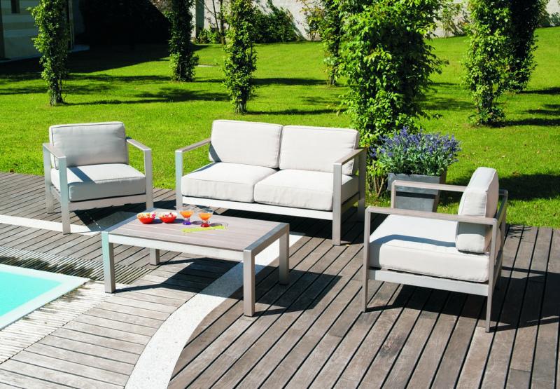 Set giardino coffee set levanto divano 2 poltrone tavolino for Set giardino legno