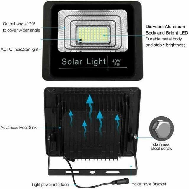 Faro LED da Esterno Impermeabile con pannello solare IP67 60w