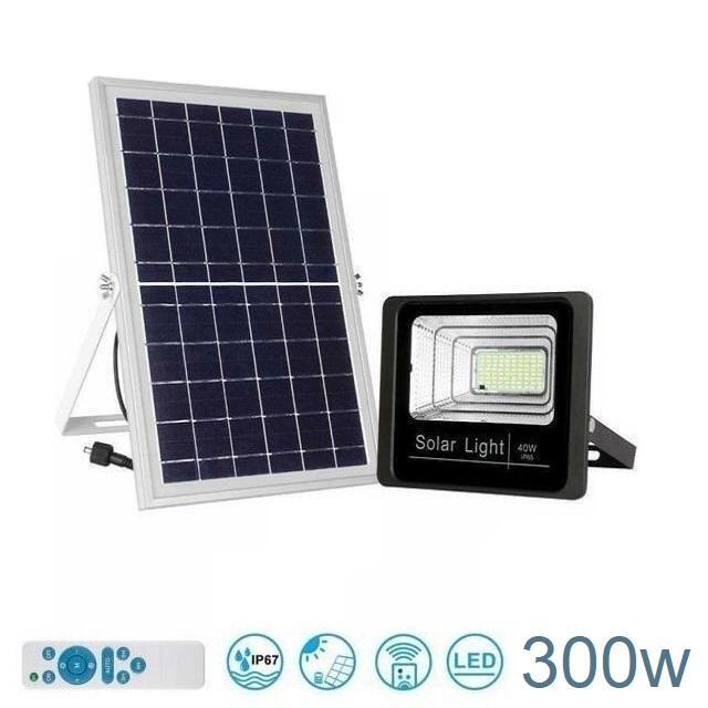 Faro LED da Esterno Impermeabile con pannello solare IP67 300w
