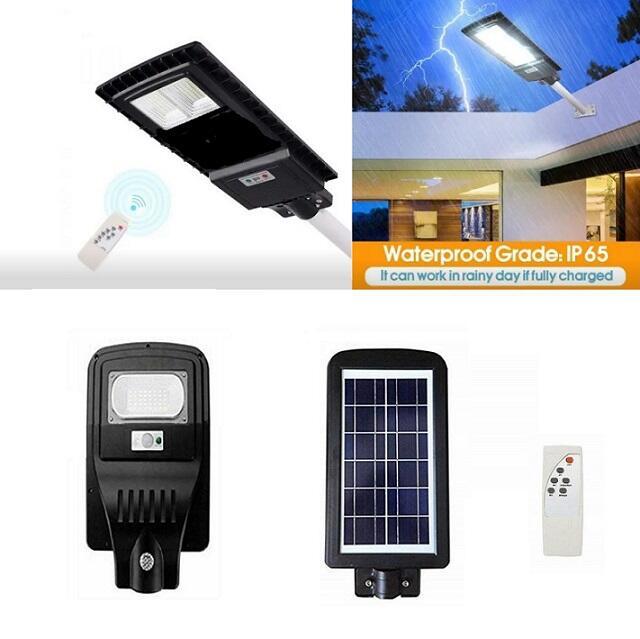 Lampione Stradale Faro LED Pannello Energia Solare Crepuscolare IP65 30w