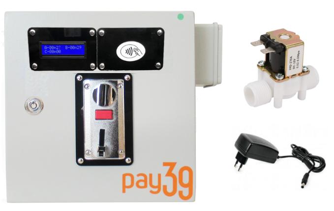 Gettoniera multimoneta per doccia + Lettore RFID + autoricarica + elettrovalvola