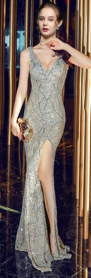0727 LONG DRESS WITH EMBROIDERED SEQUINS SLIT AND OPEN BACK