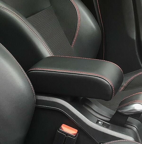 Adjustable armrest for Peugeot 2008 (2013-2019) with colored stitching