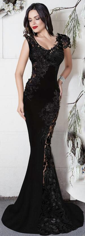 0729 LONG DRESS IN ELASTIC CREPE WITH TRANSPARENCIES IN TULLE AND MACRAME '