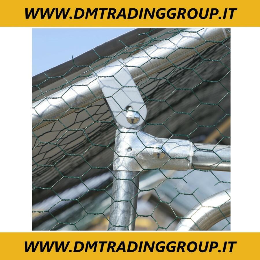 Recinto per Galline e Conigli in Metallo con Copertura in Tessuto Impermeabile Anti-UV, 300x600x195cm