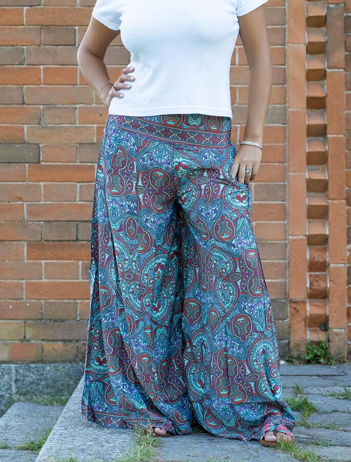 Pantalone lungo donna Kali in seta - turchese rosso viola