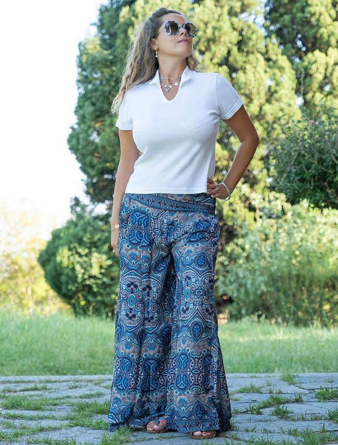 Pantalone lungo donna Kali in seta - blu e grigio chiaro
