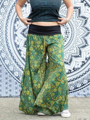 Pantalone donna Keertana zampa d'elefante - verde arancio