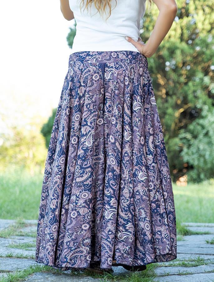 Pantalone lungo donna Uttara ampio in seta - viola lilla