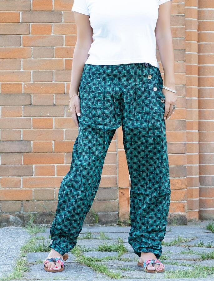 Pantalone donna Kunda a sigaretta retro elasticizzato - geometrico verde acqua