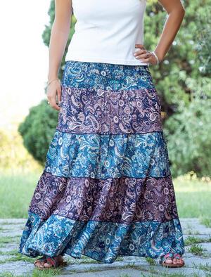 Gonna lunga Trusha a balze in seta bicolor - blu celeste / viola lilla