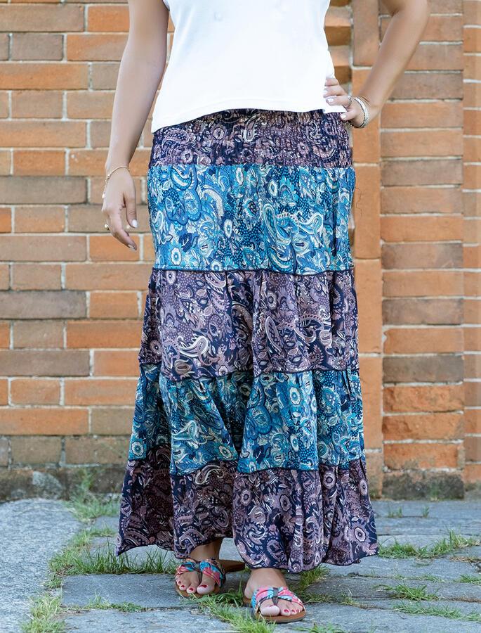 Gonna lunga Trusha a balze in seta bicolor - viola lilla / blu celeste