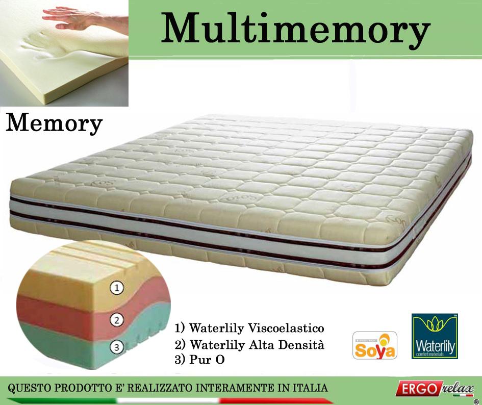 Materasso Memory Mod. Multimemory Singolo da Cm. 80x190/195/200  Waterlily Tre Strati - Ergorelax
