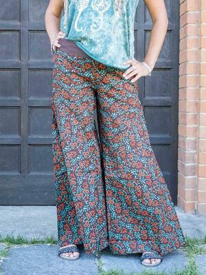 Pantalone donna lungo Ekta gamba larga - arancione verde acqua