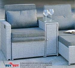 Set poltrona in polyrattan ribaltabile e allungabile doppia con portaoggetti e tavolo