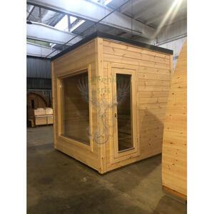 Casetta Sauna Coibentata in legno di pino nordico con spogliatoio Mod. Polar 2,30 x 2,30 - 142mm - Incluso Riscaldatore elettrico 8Kw