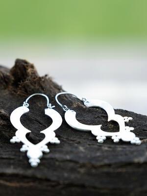 Orecchini pendenti a 3 sezioni ottone placcato argento