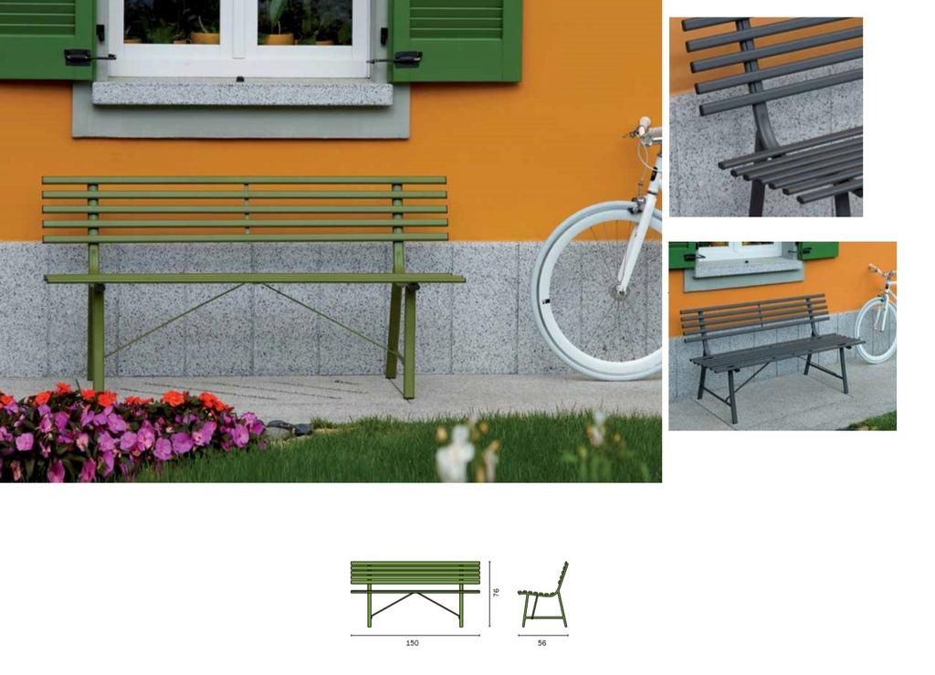 Panca da giardino GALLIPOLI panchina esterno 3 posti 150x58 struttura ferro verde