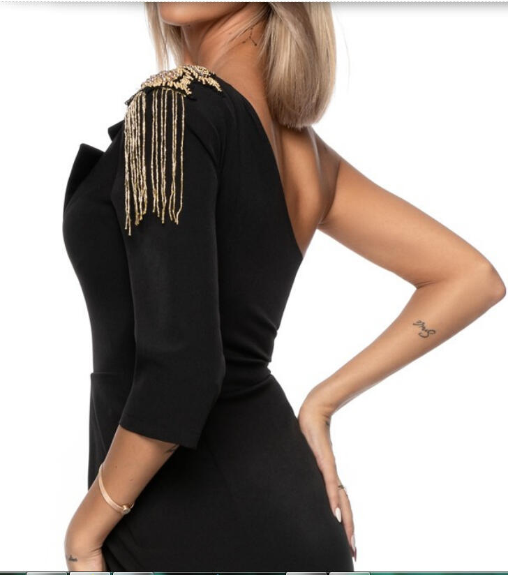 0734 ONE SHOULDER TUBE WITH GOLD BEADS AND WALLET SKIRT