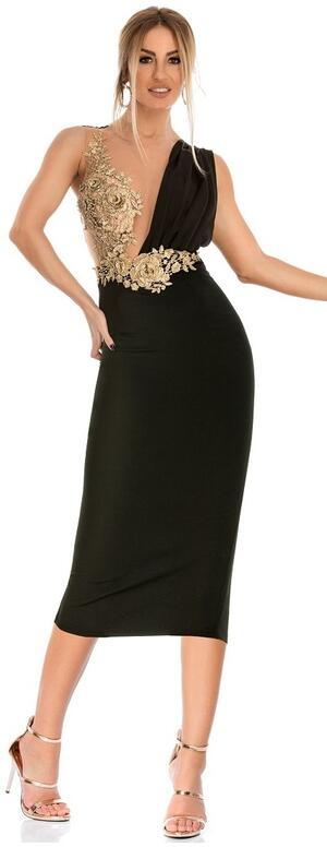 0737 LONGUETTE TUBE WITH BACK SLIT WITH TULLE BODY AND GOLD MACRAME '