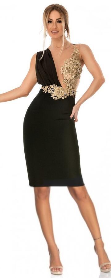 0738 TUBE WITH BACK SLIT WITH TULLE BODY AND GOLD MACRAME '