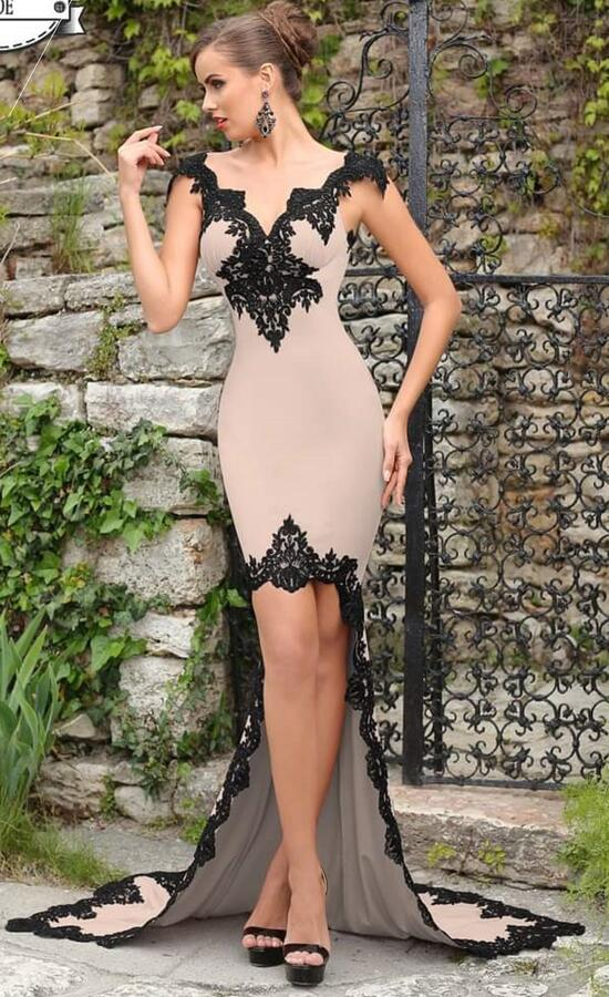 0740 SHORT DRESS IN FRONT AND LONG BEHIND CREPE NUDE WITH MACRAME '