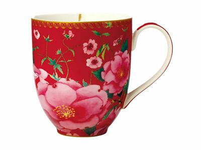 Teas & C's Silk Road Coupe Mug 440ML Cherry Red Gift Boxed
